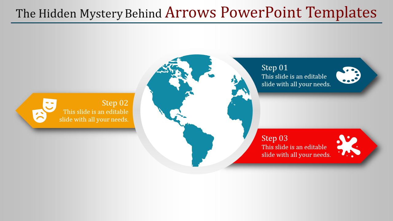 A three noded arrows powerpoint templates