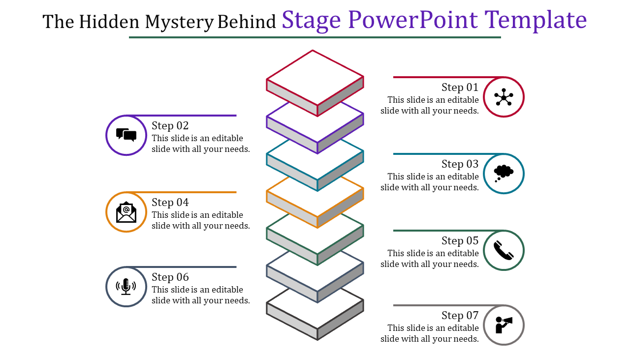 Seven Stages Powerpoint Template Layered Vertical