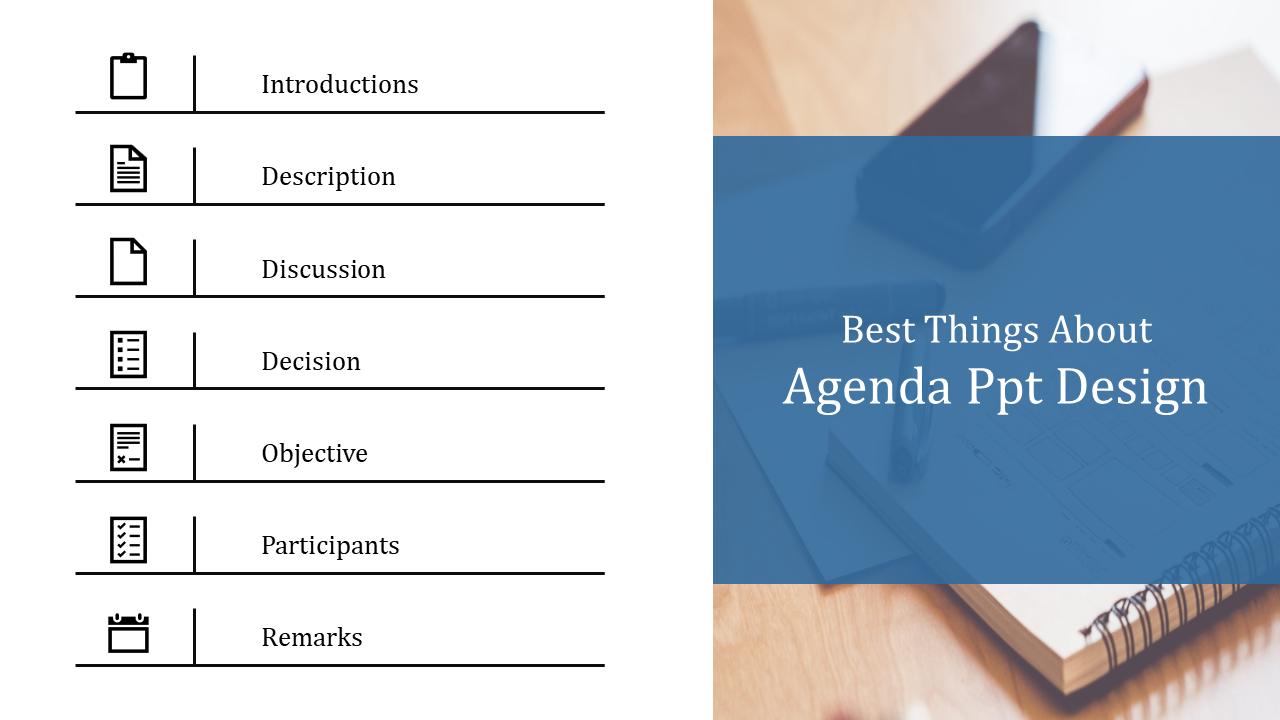A Seven Noded Agenda PPT Design