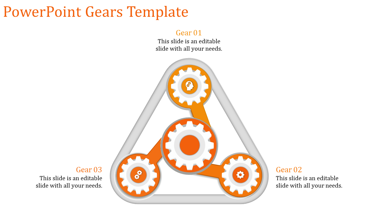 A Three Noded Powerpoint Gears Template