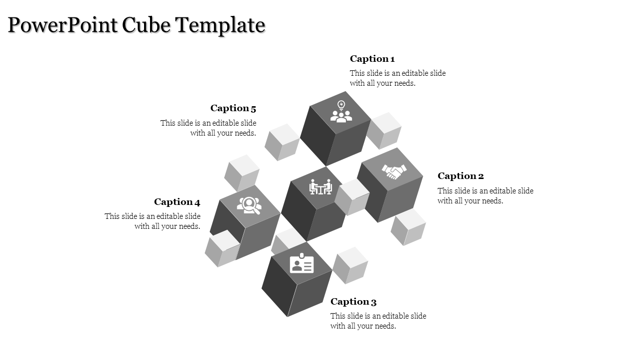 A Five Noded Powerpoint Cube Template
