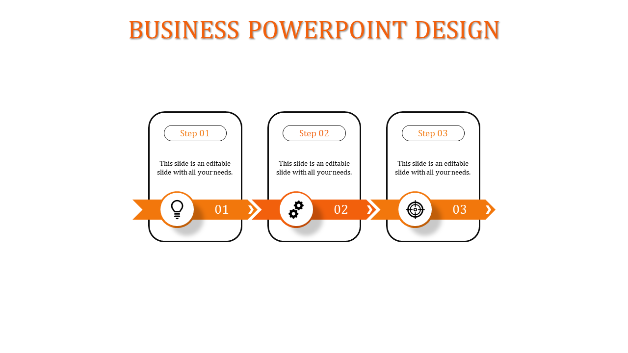 Three Orange color Pipeline Business PowerPoint Presentation