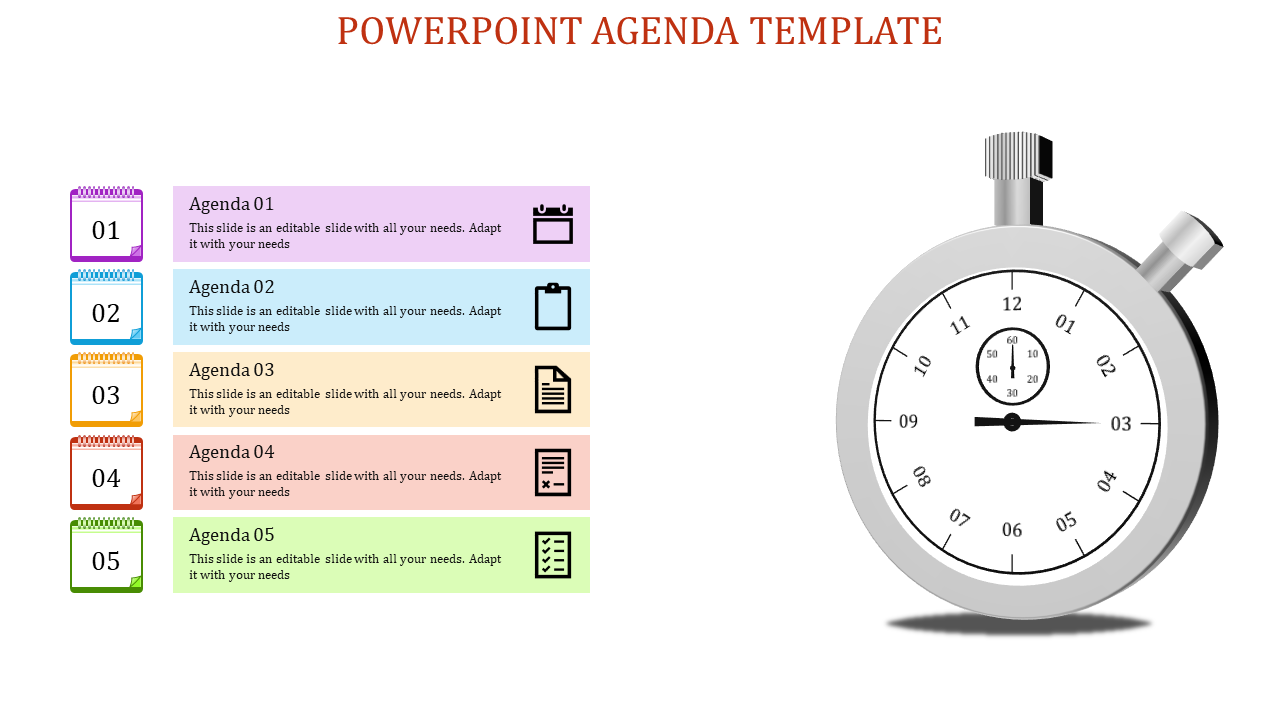 Clock Powerpoint Agenda Slide Template-with 5 Grey
