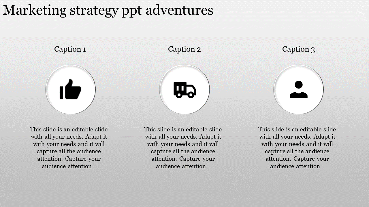 Marketing Strategy Powerpoint Template With Gray Background