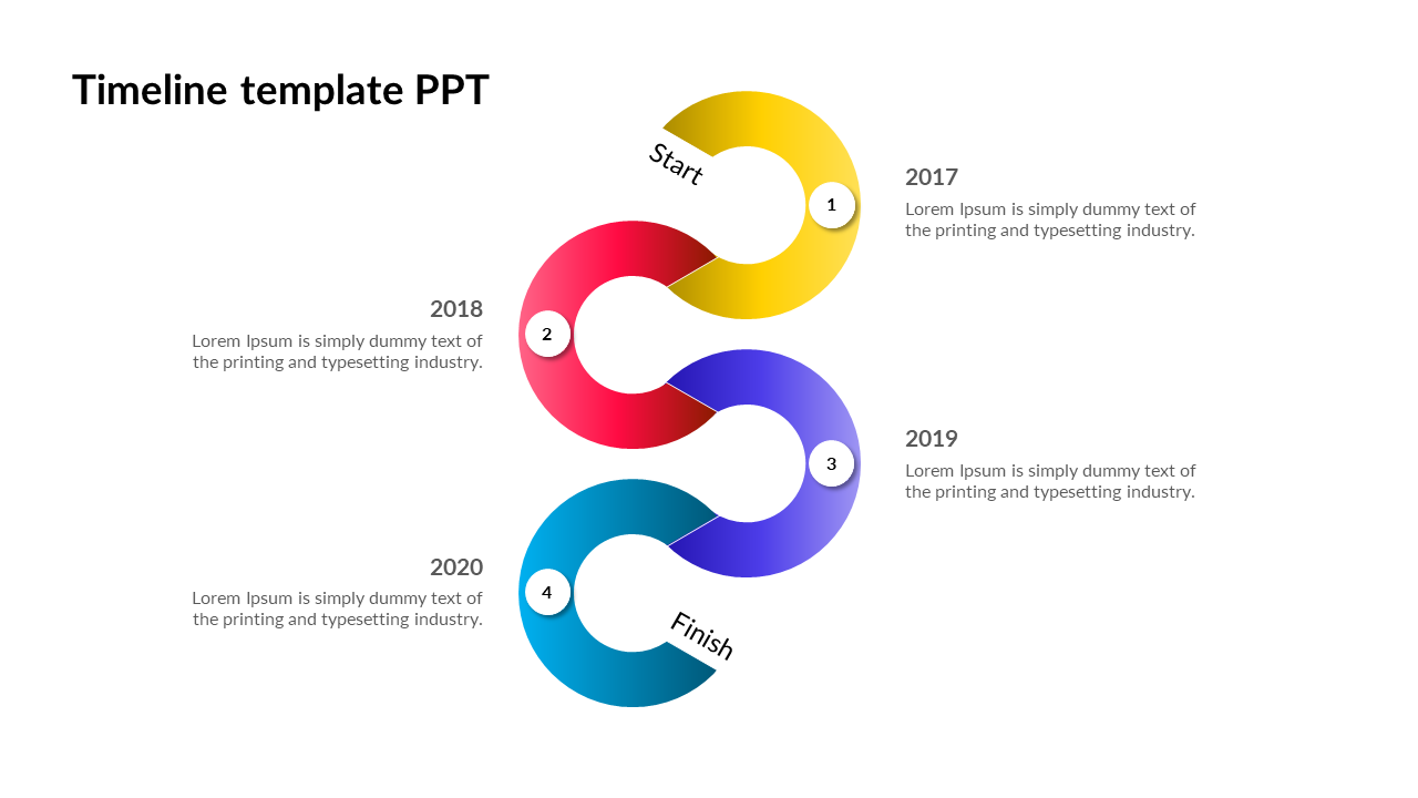 Timeline Template Powerpoint - Curved Model