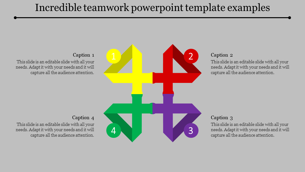 Teamwork Powerpoint Template With Innovative Shapes