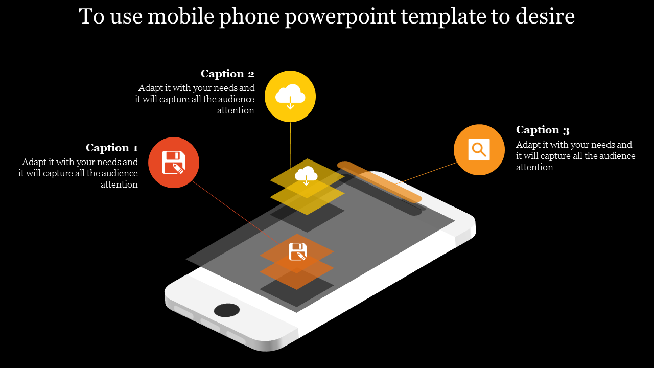 Mobile Phone Powerpoint Template Dark Background
