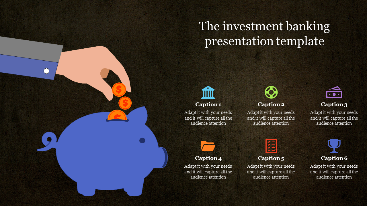 Piggy bank Investment banking presentation templates