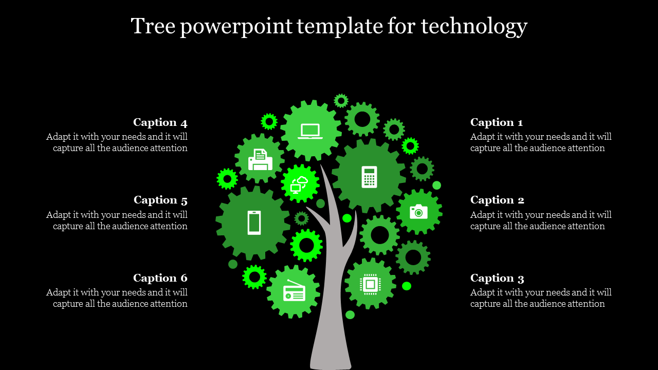 tree powerpoint template with gear model leafs