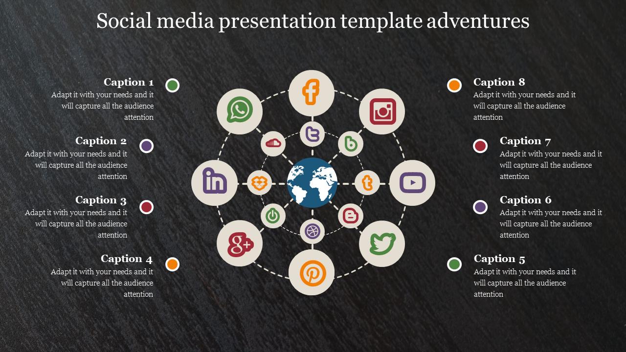 Social Media Presentation Template With Dark Back Ground