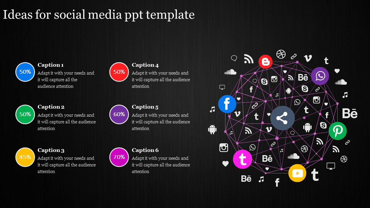 Social Media Powerpoint Template With Six Stages