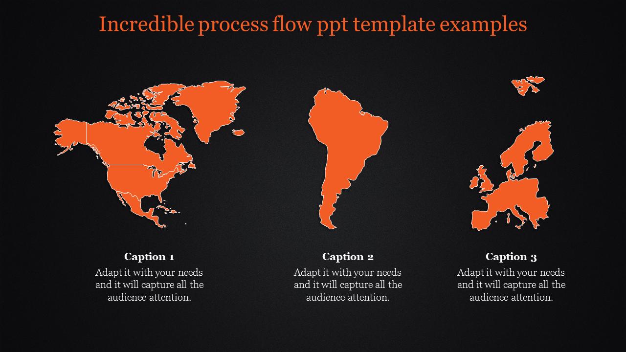 Orange World Map Powerpoint Dark Background