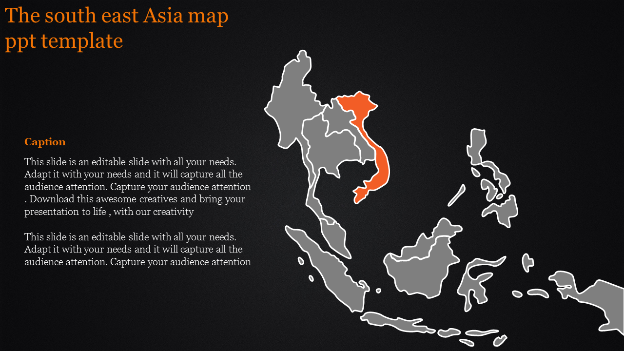 SlideEgg | map ppt template-The south east Asia map ppt