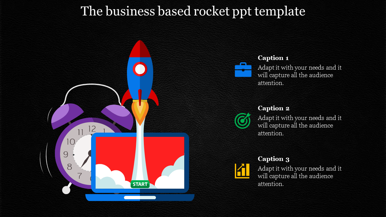 rocket powerpoint template for business growth