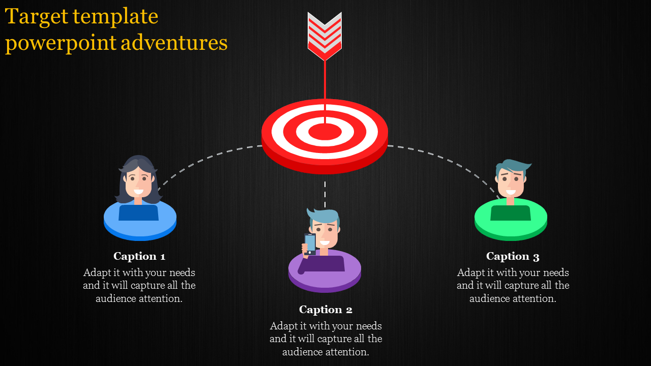 Target Template Powerpoint - 6 Arrow Poiniting