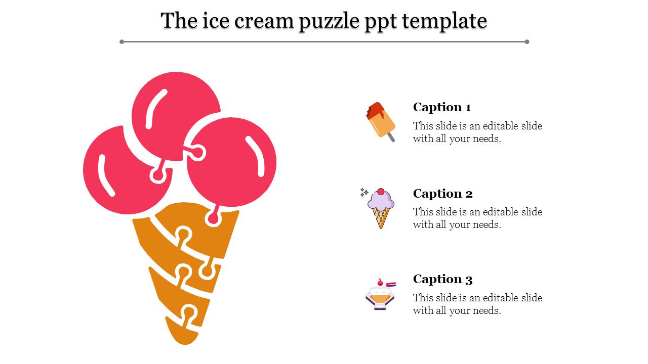Ice-cream Model Puzzle PPT Template