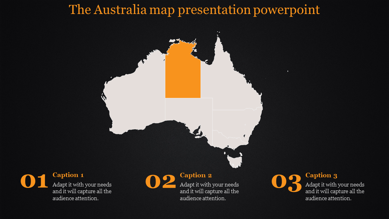 Australia map presentation powerpoint with dark background
