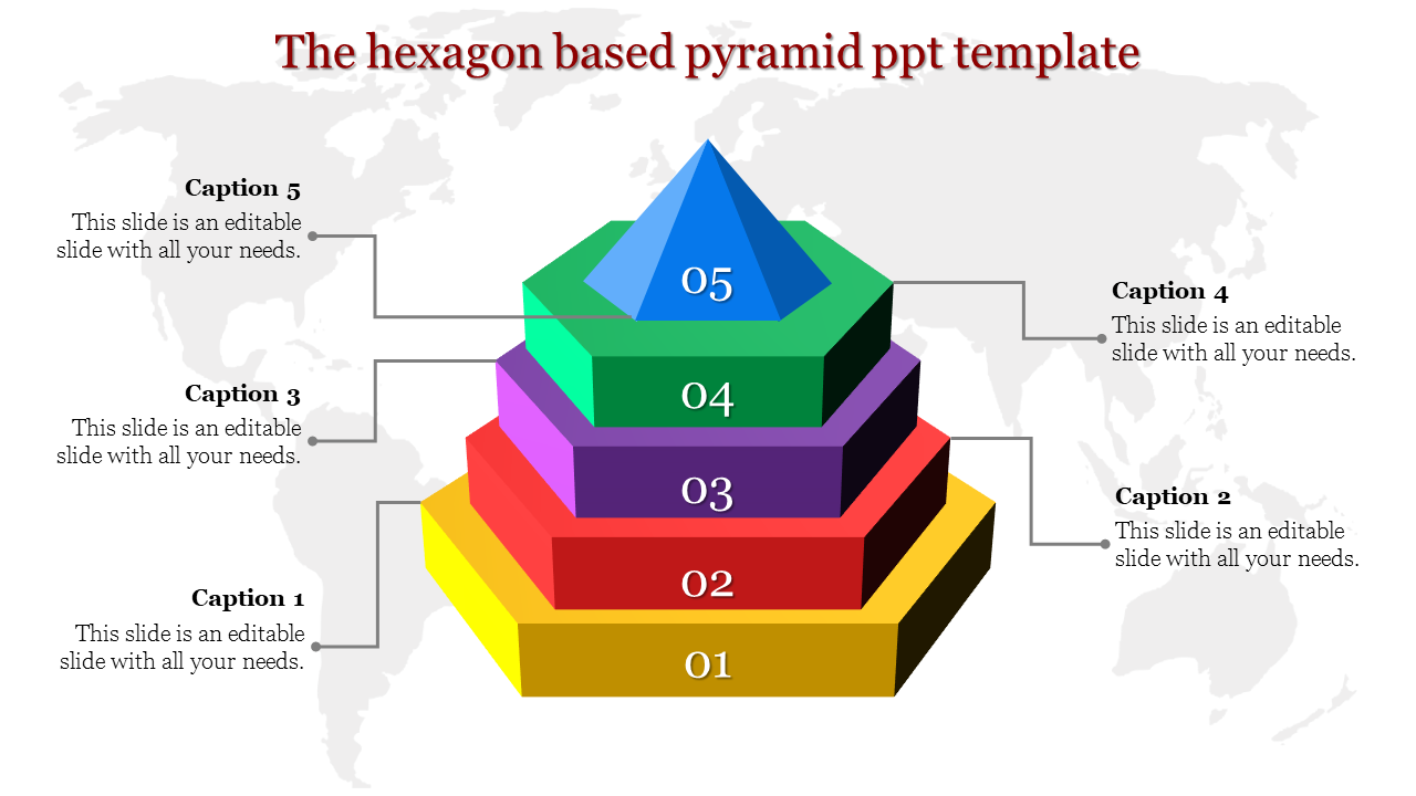 Hexagon based pyramid PPT template with five stages