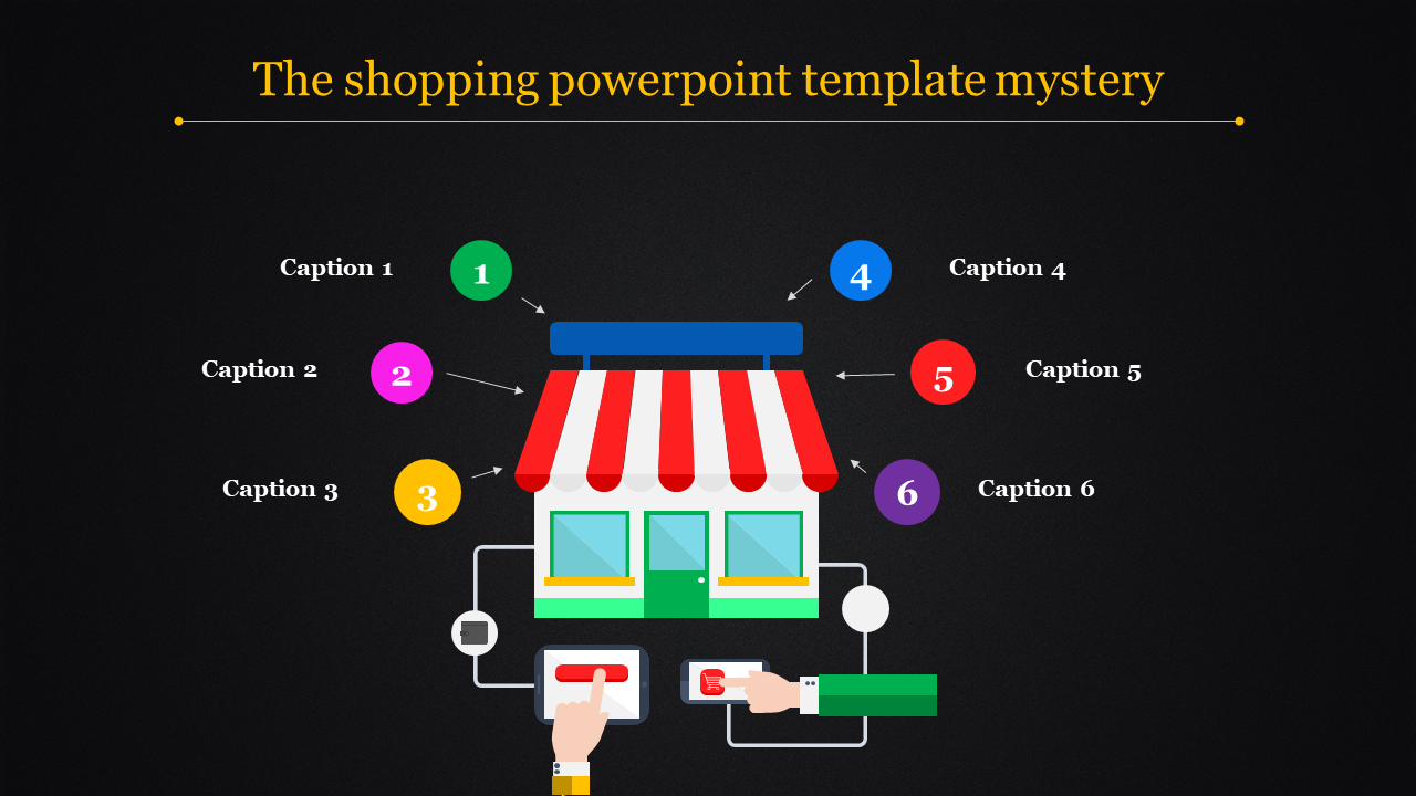 A six noded shopping powerpoint template