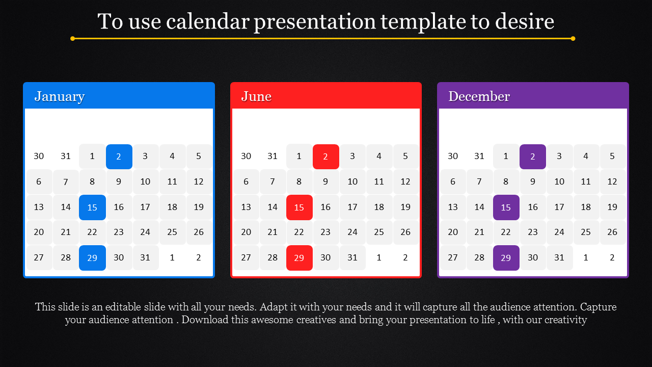 Ordinary Calendar Presentation Template
