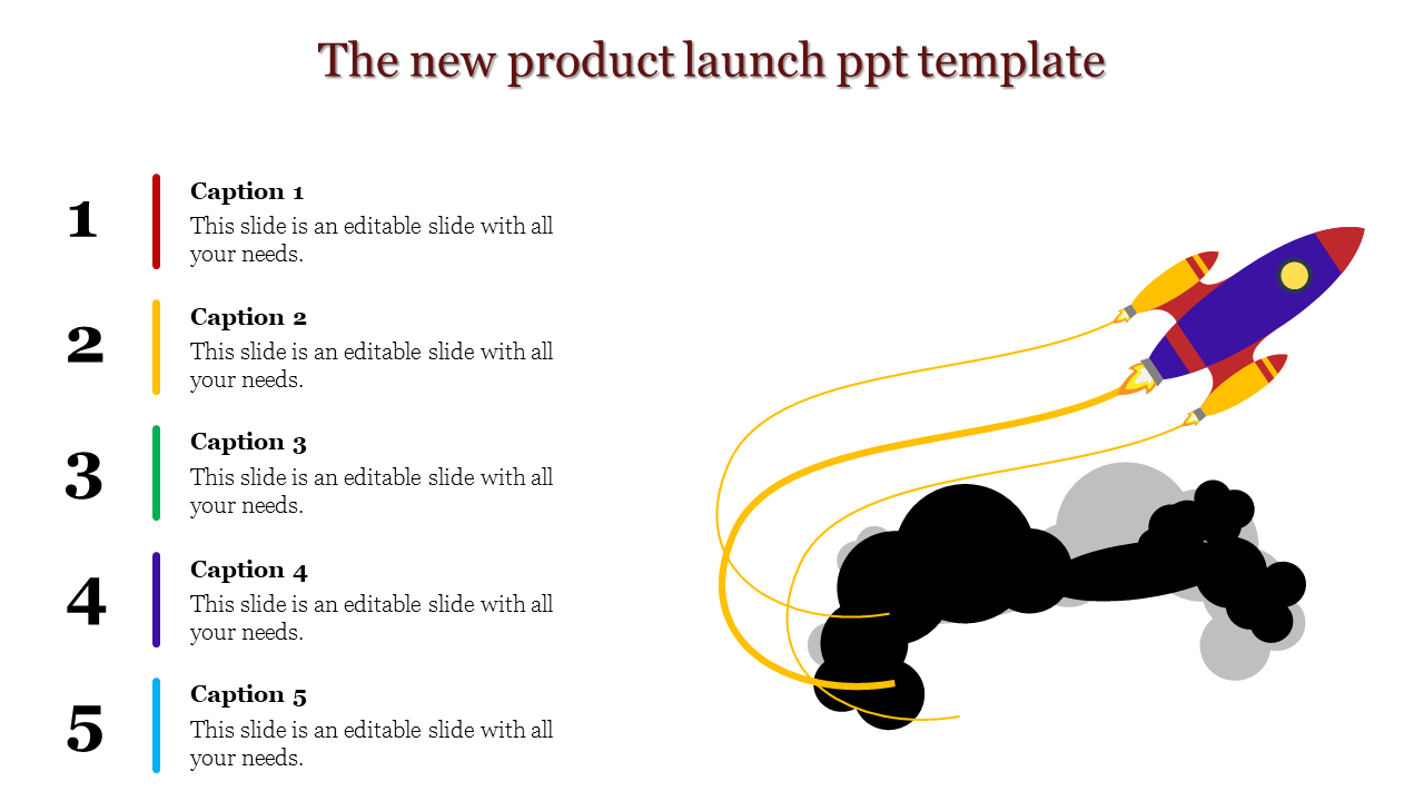 A five noded new product launch ppt template