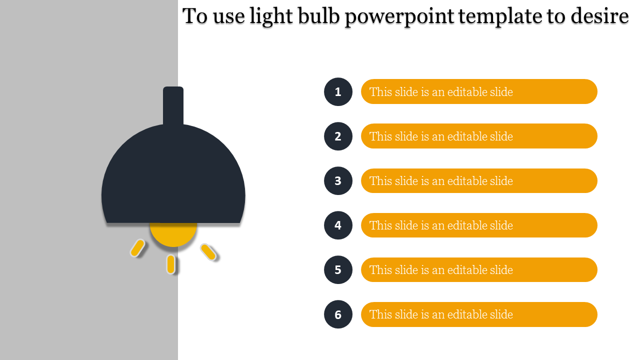 A six noded light bulb powerpoint template