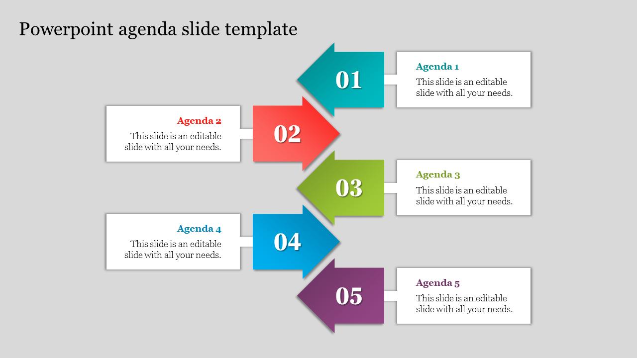 Arrow Powerpoint Agenda Slide Template
