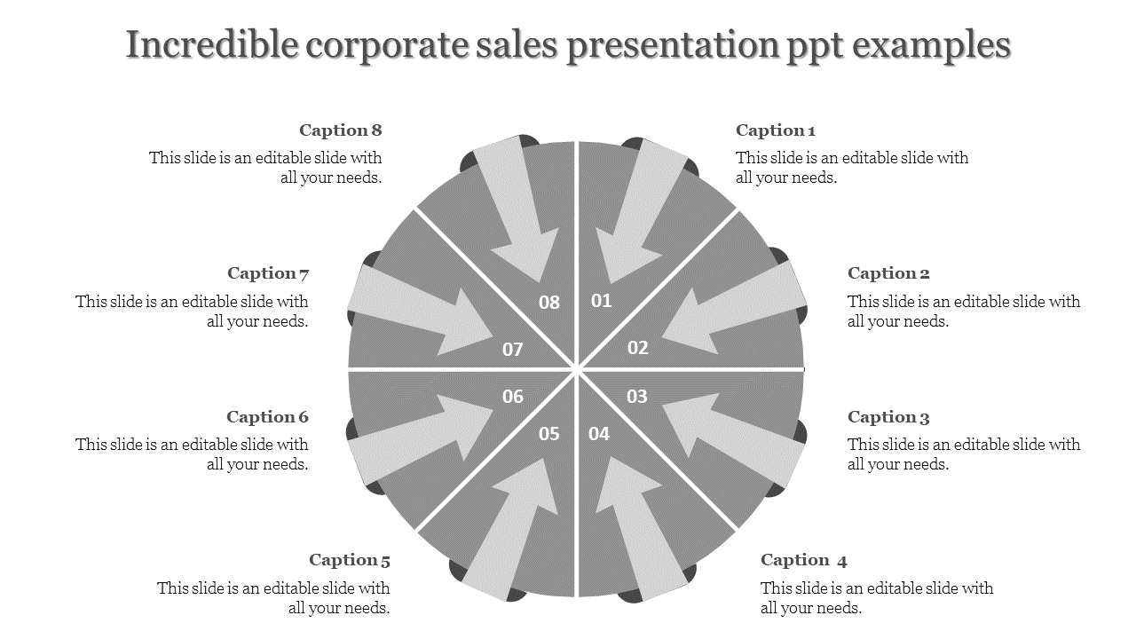 Corporate Sales Presentation PPT With Arrows Pointing Inside