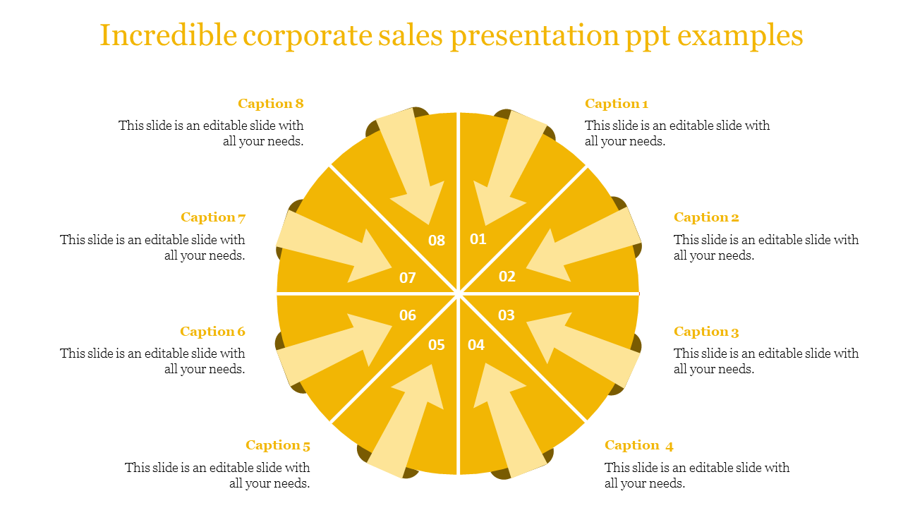 A eight noded corporate sales presentation PPT