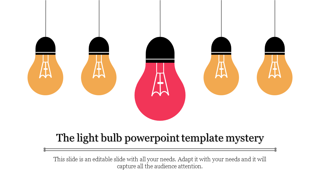 A one noded light bulb powerpoint template