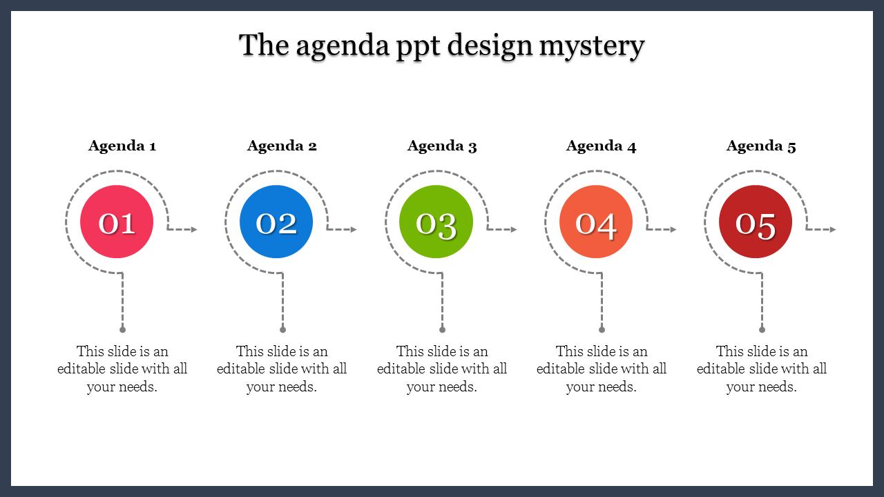 A Five Noded Agenda PPT Design