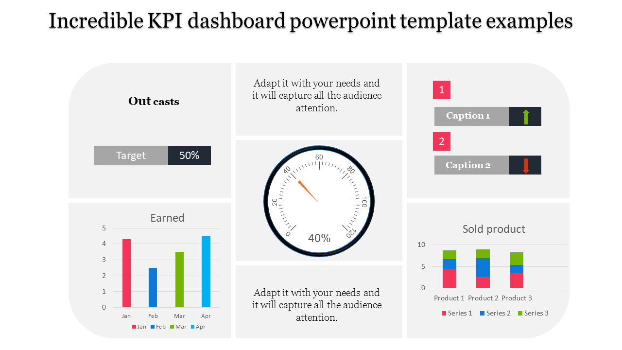 A Six Noded Kpi Dashboard Powerpoint Template