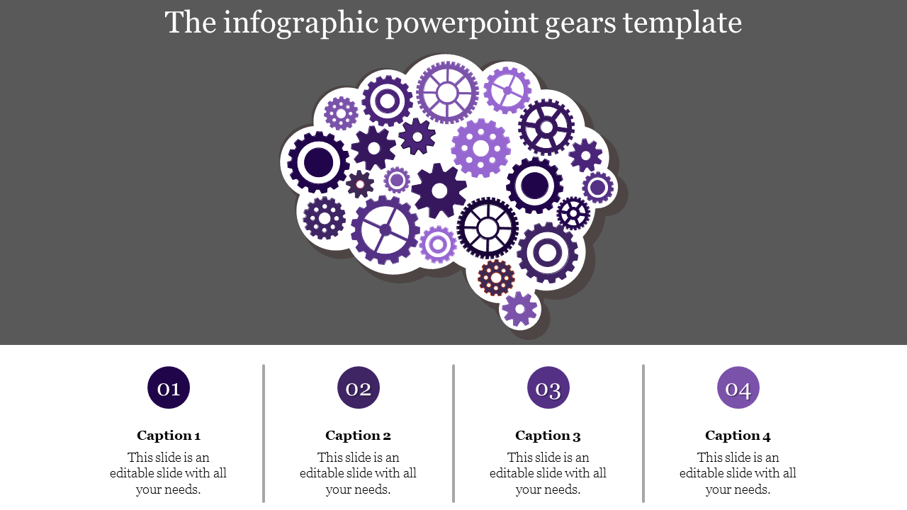 A Four Noded Powerpoint Gears Template