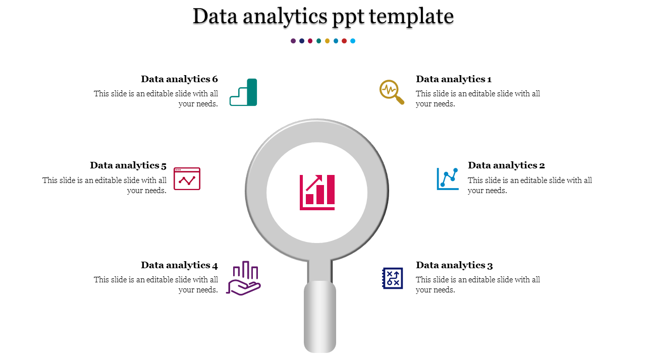 Six stage data analytics PPT template-explore model
