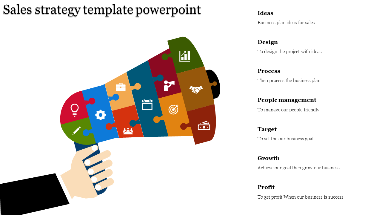 A Seven Noded Sales Strategy Template Powerpoint