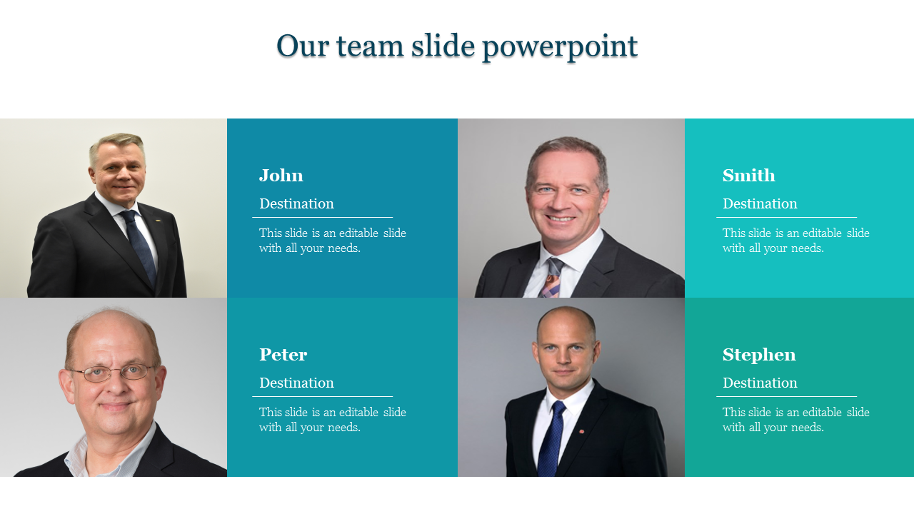 A four noded team slide powerpoint