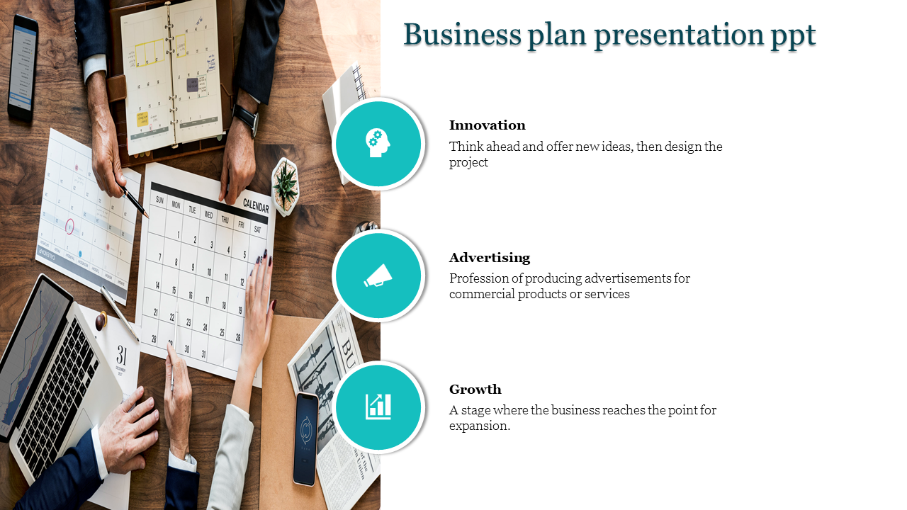 A three noded business plan presentation ppt