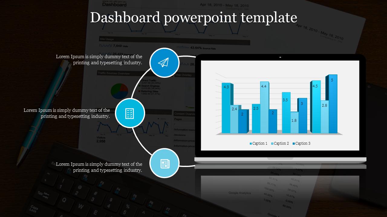 Dashboard Powerpoint Template With Dark Background Slideegg