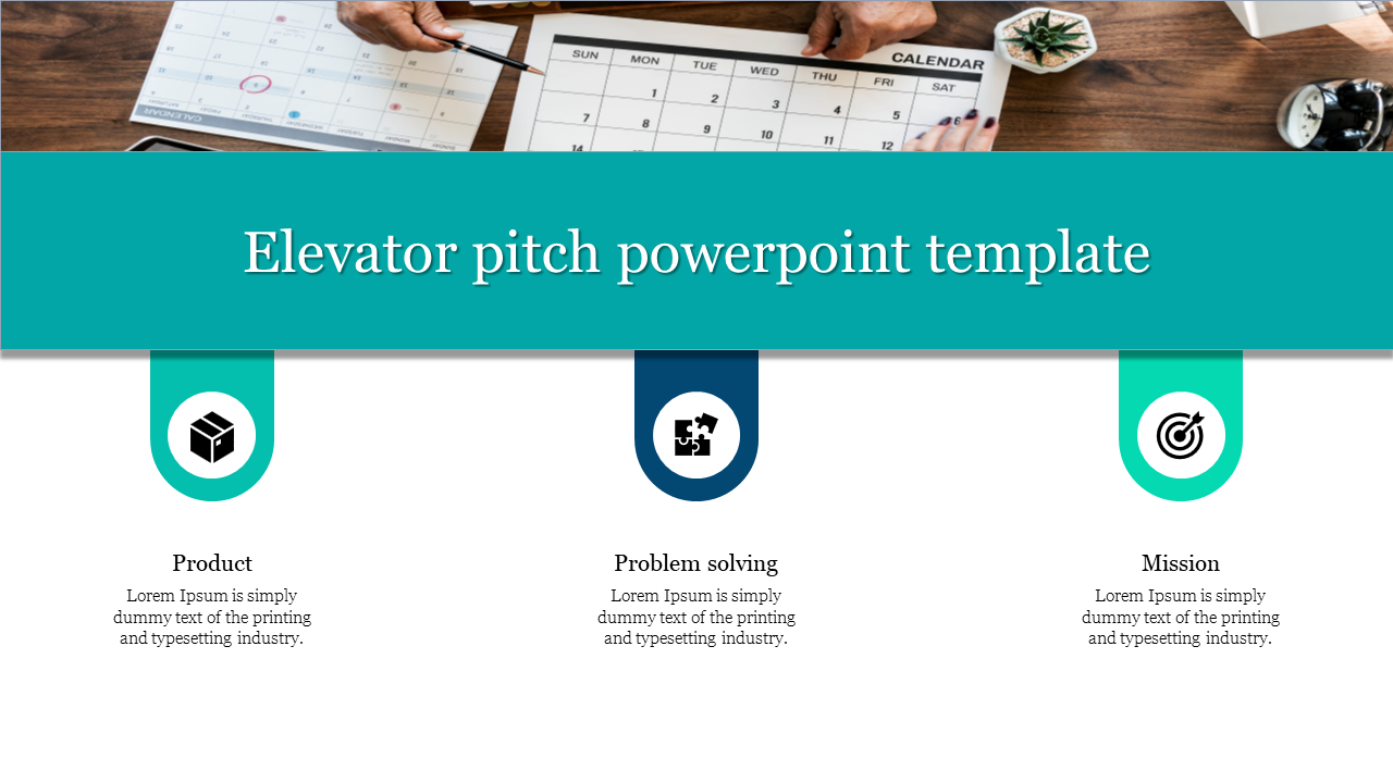 A three noded elevator pitch powerpoint template