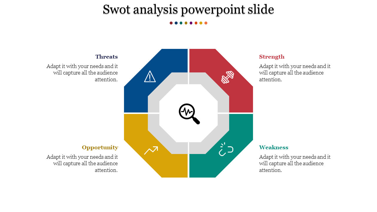 SWOT Analysis Powerpoint Slide-hectagon Model