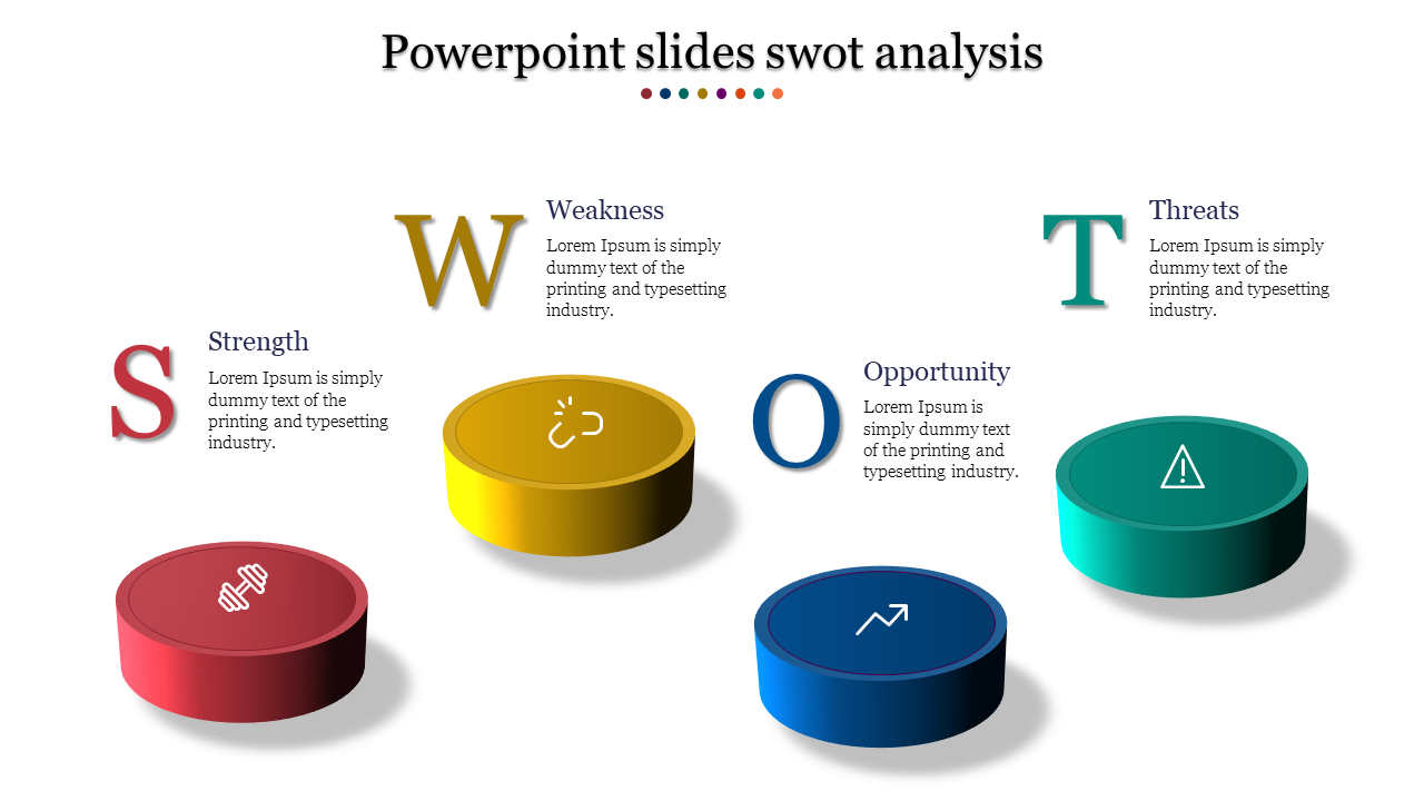 A four noded Powerpoint slides swot analysis