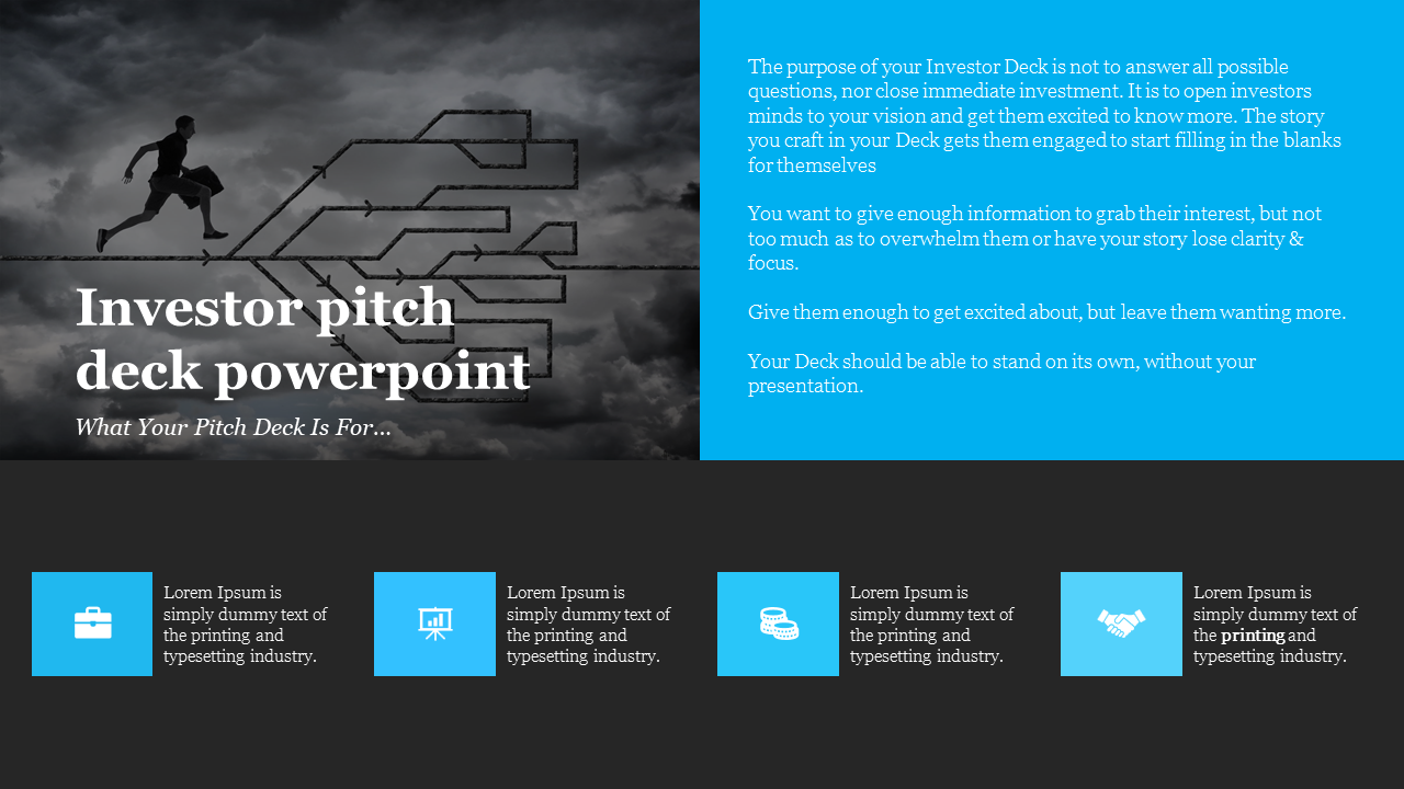 A Four Noded Investor Pitch Deck Powerpoint