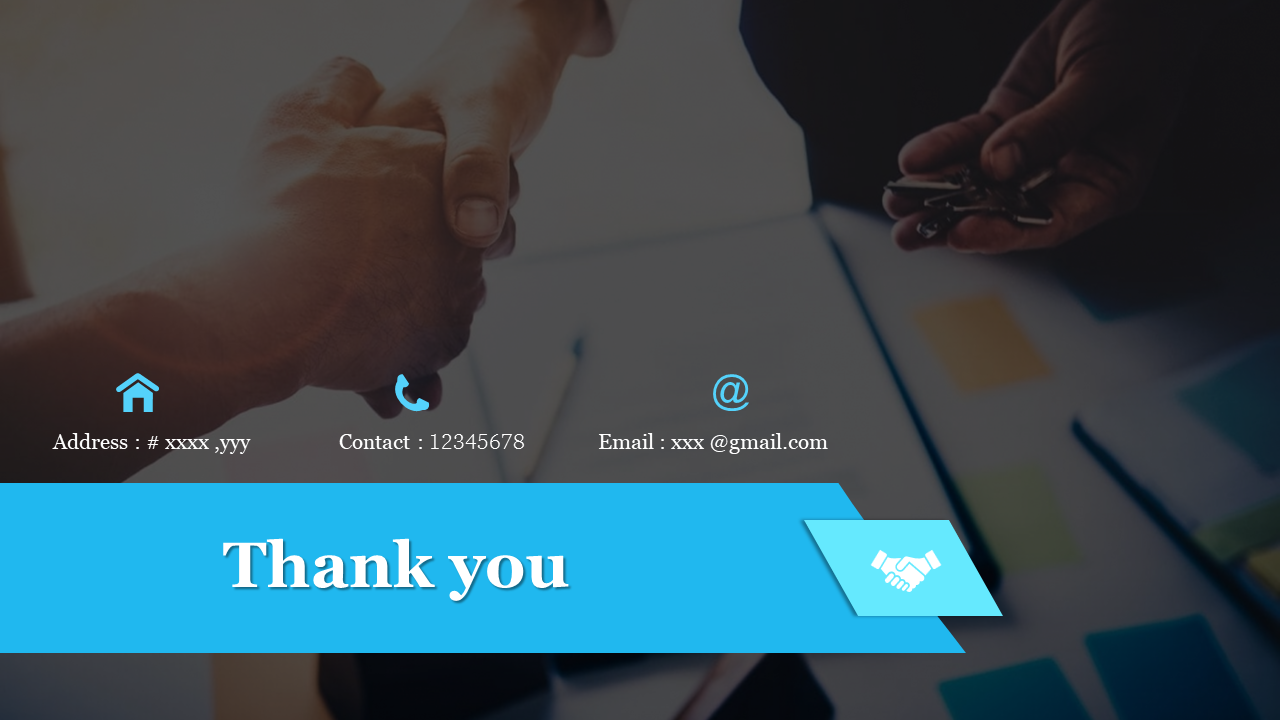 Simple thank you powerpoint slide with background image