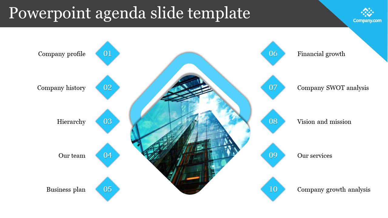 Company Powerpoint Agenda Slide Template