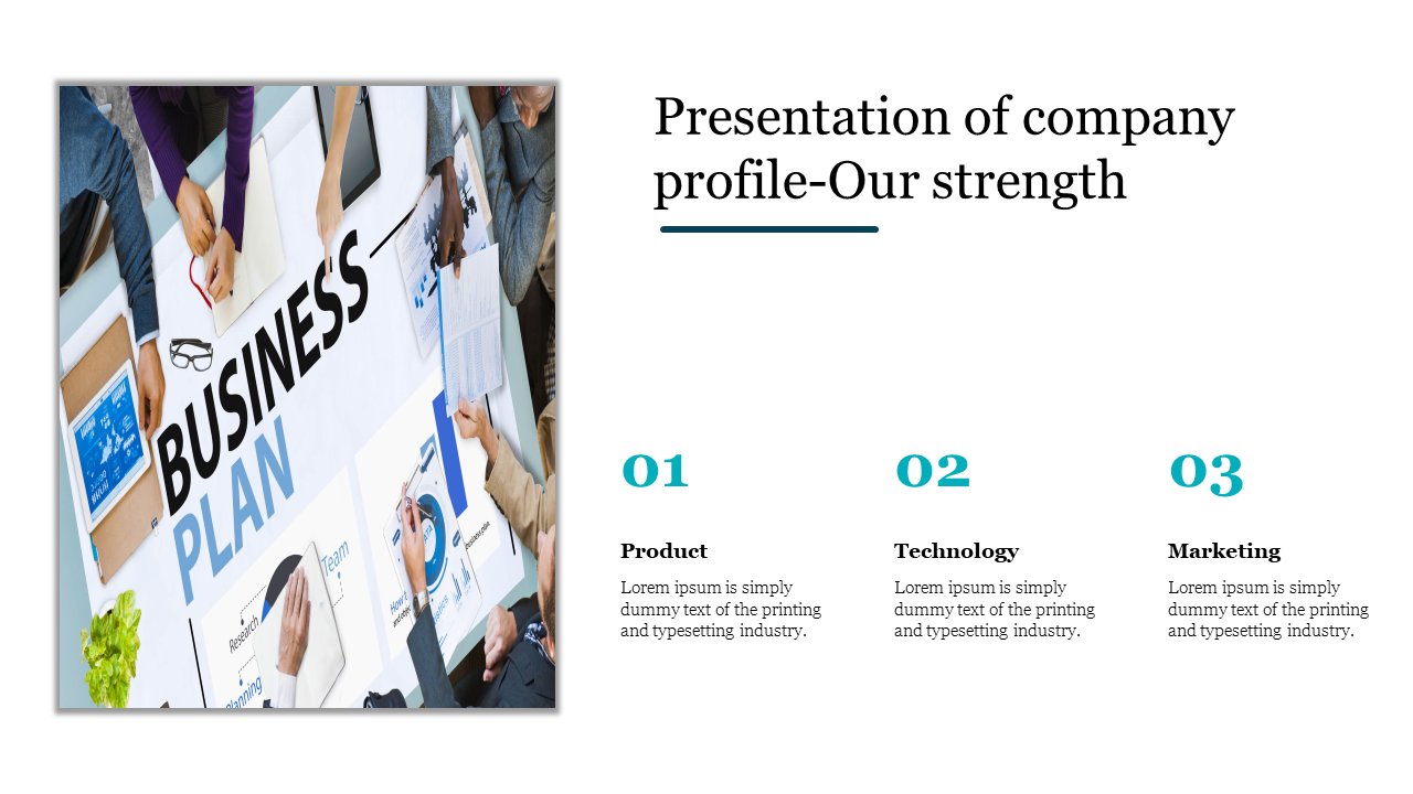 Presentation of company profile with portfolio design