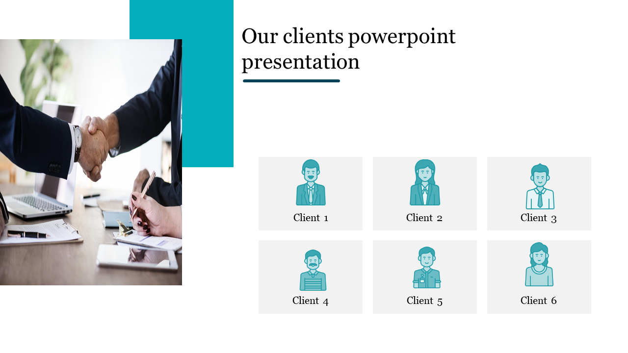 Our clients powerpoint presentation with silhouettes