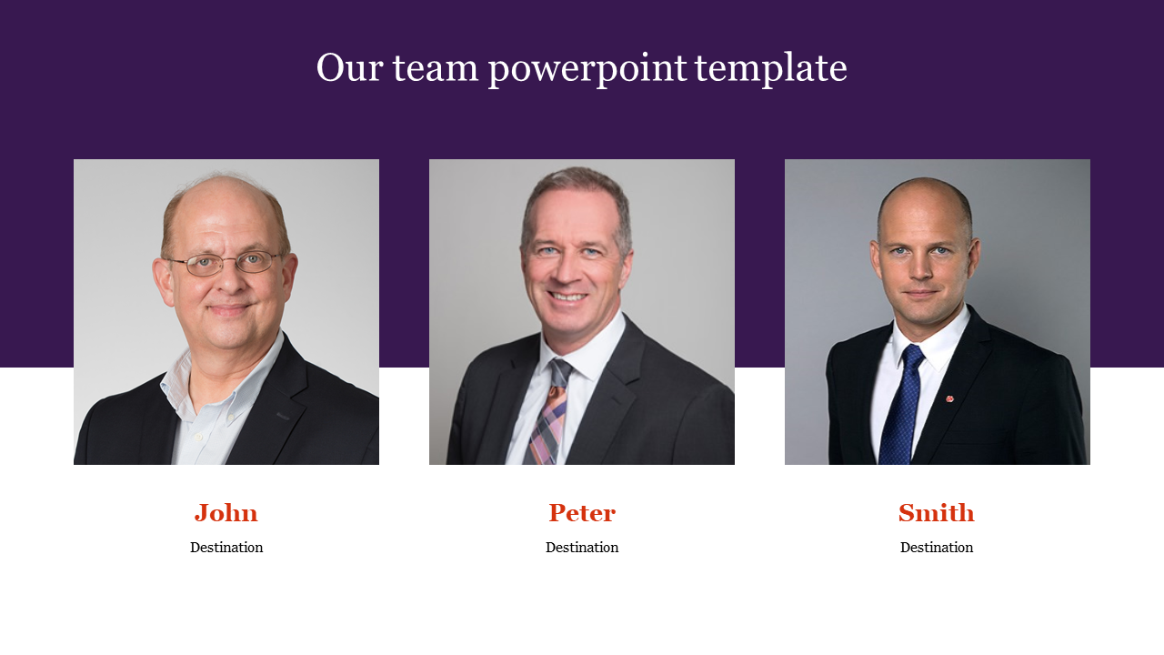 Our team powerpoint template with portfolio design