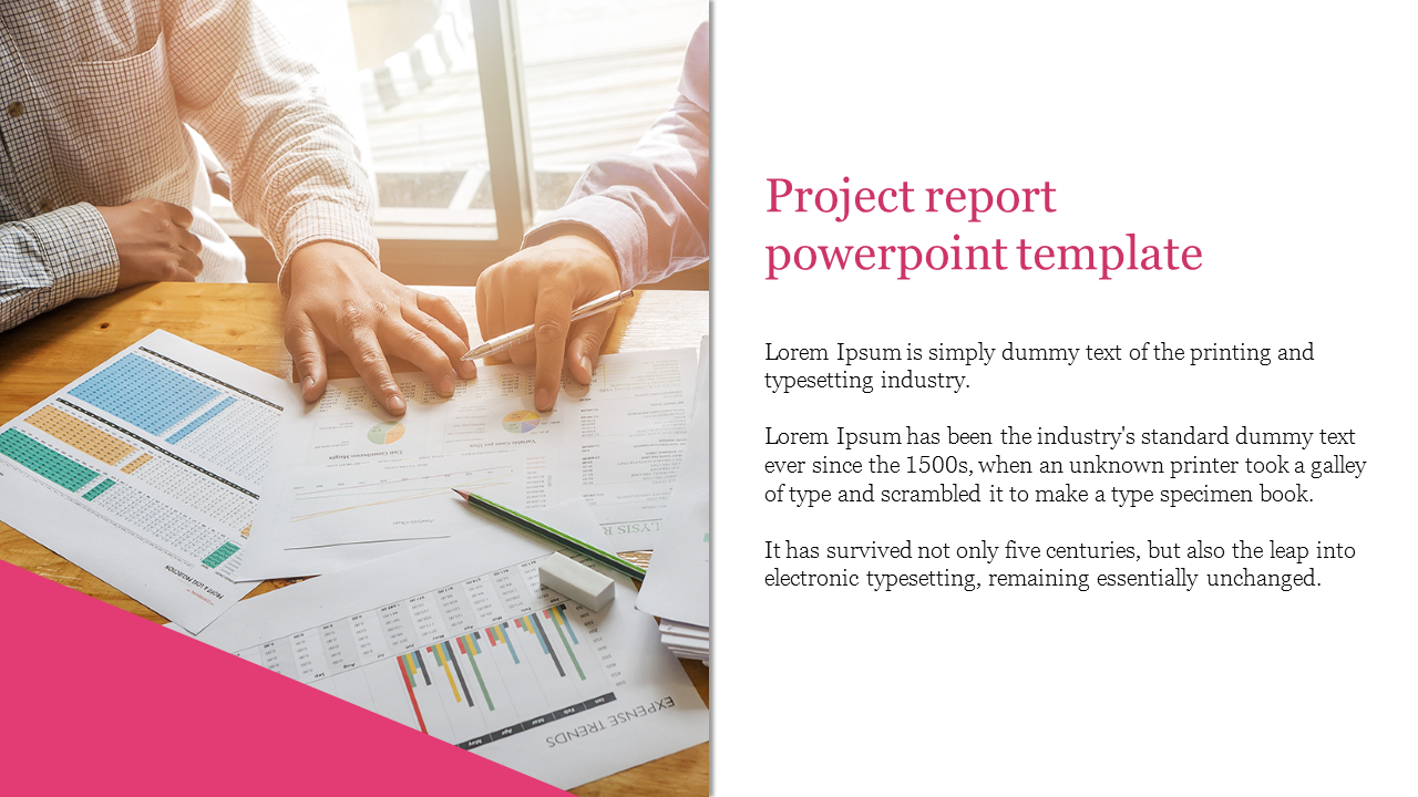 Project Report Powerpoint Template For Business
