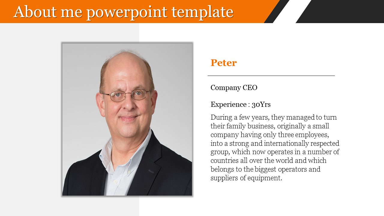 About me powerpoint template for company