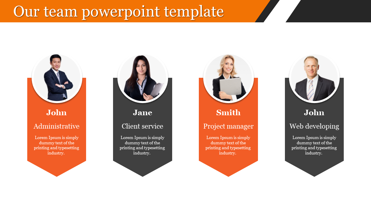 our team powerpoint template - portfolio model